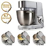 Küchenmaschine mit XL Edelstahlschüssel, 6,7Liter Schale, Profi-Knetmaschine mit 1500Watt...