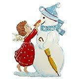 Zinngeschenke Schneemann mit Engel Zinnfigur von Hand beidseitig bemalt...