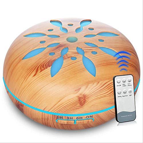 Humidificador Ambientador Difusor De Aroma De Control Remoto De Diseño Con 7 Colores Cambiantes De Luz Led Humidificador De Aceite Esencial De Niebla Enchufe de la UE Grano de madera claro