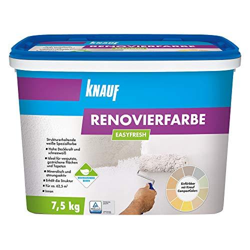 Knauf 415121 EASYFRESH, mineralische, strukturerhaltende Renovierfarbe in schneeweiß, stumpfmatt, hochdeckend und abriebfest, gebrauchfertig, lösemittelfrei, emmissionsarm, Weiß, 7.5 kg