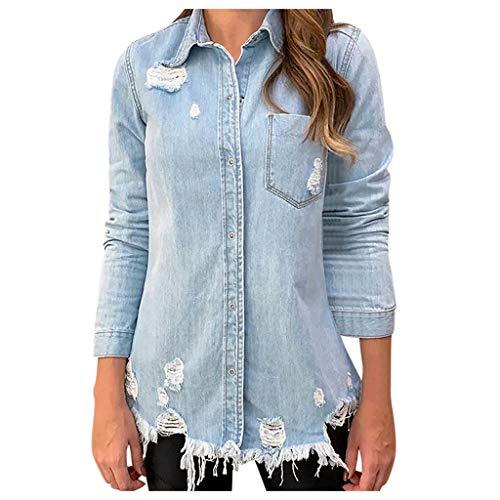 Why Should You Buy NANTE Top Loose Women's Blouse Long Sleeve Hole Denim Outcoat Pockets Jean Outwea...