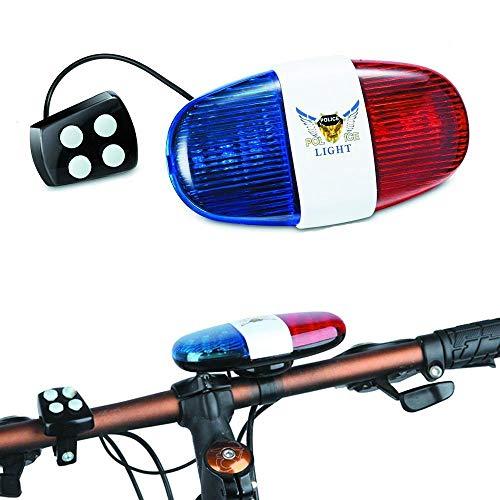 babyGreen Bicicleta Luces LED Bicicleta Ciclismo Cuerno eléctrico Bicicleta Sirena de policía Campana - 4 Sonidos 6 LED