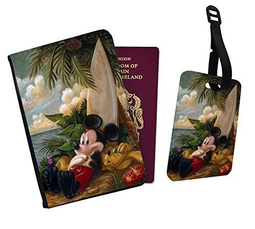 Funda para pasaporte de vacaciones y etiqueta de equipaje, diseño de Mickey y Pluto en surf, Black (Negro) - PP274