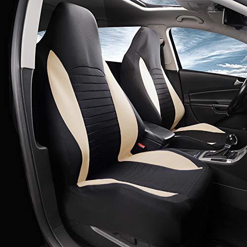 AUTOYOUTH Fundas para asientos delanteros de auto para coche, fundas de asiento de cubo, fundas de asiento de ajuste universal para sedán, camión, SUV, color beige