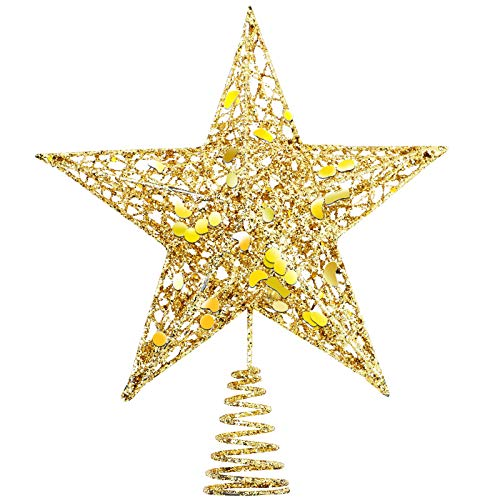 URATOT Glittered Christmas Tree Topper Metal Christmas Treetop Hallow Wire Star Topper for Christmas Home Decoration (Gold, 10 inches)