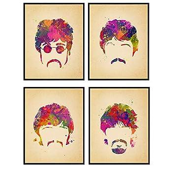 Beatles Poster Set - Gift for Paul McCartney John Lennon Ringo Starr George Harrison 60s Music Fans - Cool Wall Decor Wall Art Room Decor Home Decorations for Bedroom Living Room Dorm