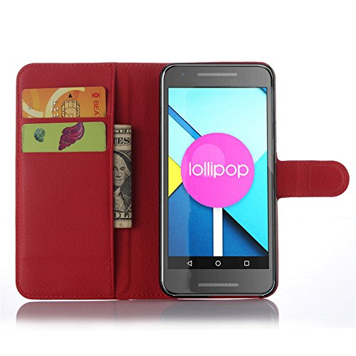 LG Nexus 5X Google Handyhülle Book Case LG Nexus 5X Google Hülle Klapphülle Tasche im Retro Wallet Design mit Praktischer Aufstellfunktion - Etui Rot