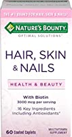 Nature's Bounty Optimal Solutions Hair, Skin & Nails Formula, 60 Tablets 海外直送品