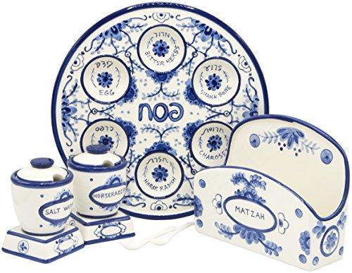 Passover Seder Teller für Pesach-Futter, Keramik, 30,5 cm, Blau und Weiß, Delft-Look (komplettes Passover Set)