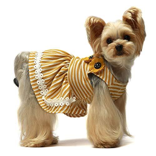 Fitwarm Flowers Pet Clothes for Dog Dresses Vest Shirts Sundress Yellow XXS