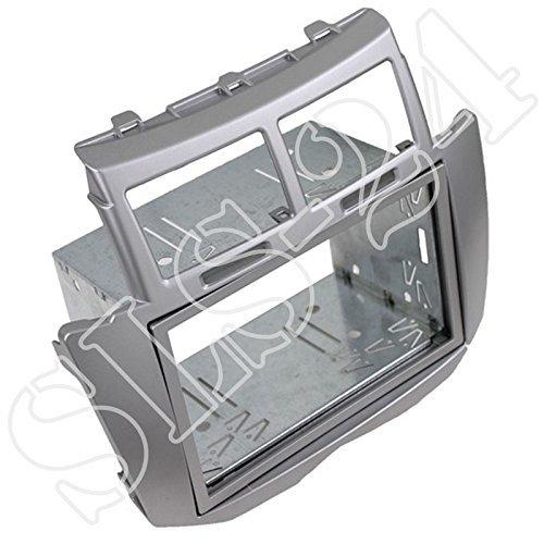 Doppel-DIN Radioblende Einbaublende Silber 2-DIN Radio Autoradio Blende Einbaurahmen Halterung für Toyota Yaris (2007-2011)