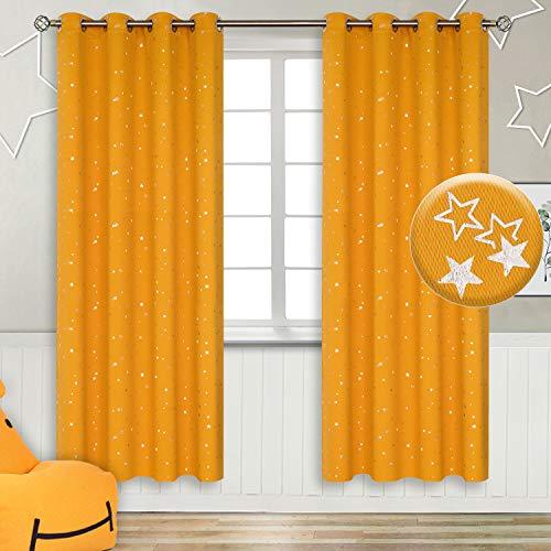 BGment Star - Cortinas opacas con ojales para dormitorio infantil, amarillo mostaza, W55 X L69