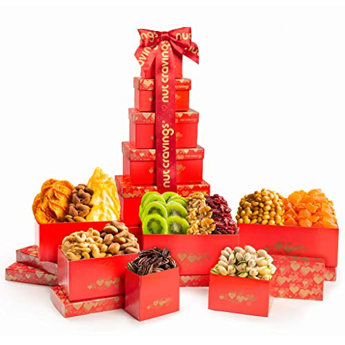 Dried Fruit & Nut Gift Basket, Red Tower + Ribbon (12 Piece Assortment) - Fathers Day Prime Arrangement Platter, Birthday Care Package Variety, Healthy Food Kosher Snack Box for Mom, Women, Men, Adult