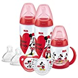 NUK Disney - Juego de biberón, chupete y taza para beber, 6 – 18 meses, diseño de Minnie Mouse, con 2 botellas de bebé, 1 taza para beber, 2 chupetes chupetes y 2 tetinas de silicona para botella