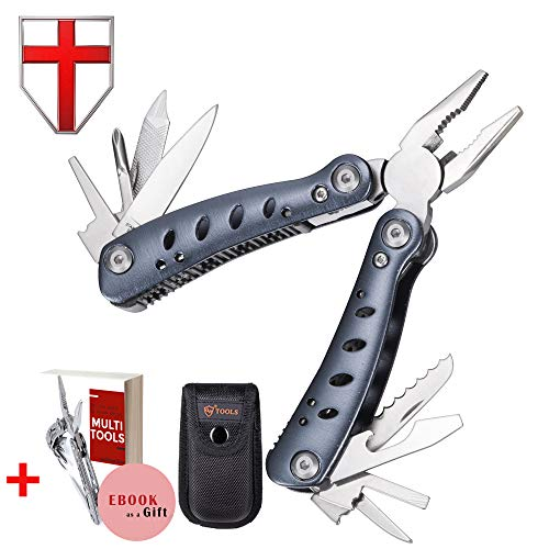 Mini Utility Multitool with Knife and Pliers - Best EDC Small Multi Functional Purpose Tool with All in One Tool Set - Everyday Universal Knife for Survival and Outdoor Activities - Grand Way 59037