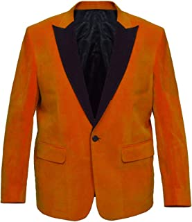 The Jasperz Kingsman Orange Coat Eggsy Orange Trimmed Velvet Tuxedo, XXS-3XL