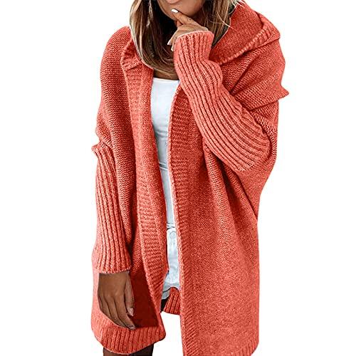 Shopler Cárdigan largo con capucha para mujer de punto grueso y grueso para mujer, naranja, XL