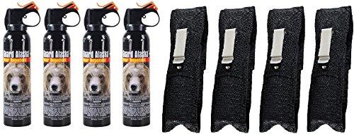 Guard Alaska 9 oz. Bear Spray Repellent + Pepper Enforcement Belt Clip Holster - Maximum Strength Bear Deterrent (4-Pack)