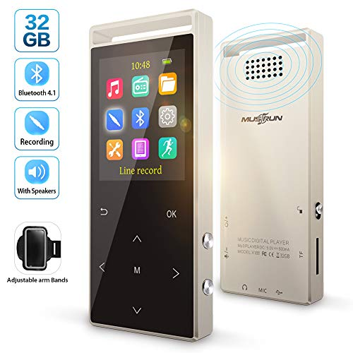 MP3 Player, MP3 Player with Bluetooth, Hi-Fi Lossless Sound Music Player with FM Radio, Pedometer,Voice Recorder, Expandable up to 128GB TF Card, with Armband and Earphone, Metal Shell,77g