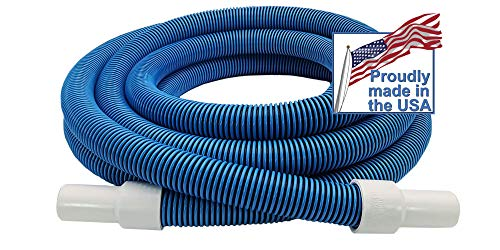 Destroyer Plastics One Year Manufacture Warranty Above/In Ground Manual Swimming Pool Vacuum Hose with Swivel Cuff (Residential Blue 1.25 in, 18)