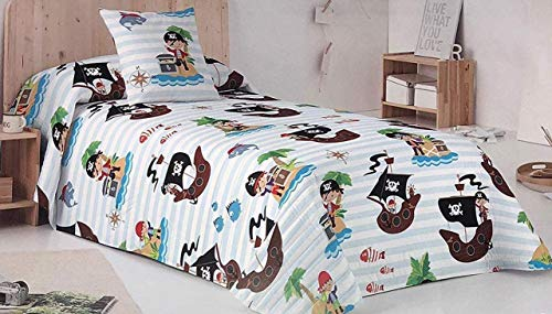Mercato House - Colcha Bouti Infantil Piratas/Colcha Cama 90/Colcha Microfibra, 180x260cm
