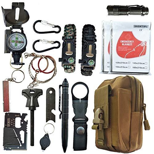 Kit di sopravvivenza, kit di sopravvivenza tattico SOS di emergenza 16 in 1 esterno per deserto / viaggio / auto / escursionismo / attrezzatura da campeggio, kit di pronto soccorso d\'emergenza con seg