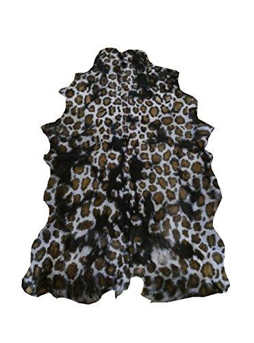 Zerimar Alfombra Piel de Cabra Natural Premium   Medidas: 100x70 cms   Estampada imitación Leopardo   Alfombra Salón   Alfombra Salón Grandes   Alfombras de Pelo