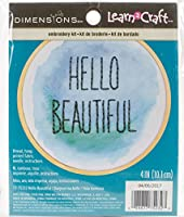 寸法 「Hello Beautiful」初心者向けミニ刺繍キット 4インチ