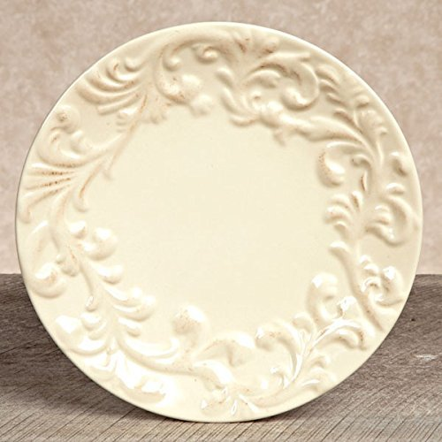 GG Collection Ceramic Cream Dinner Plates (4)