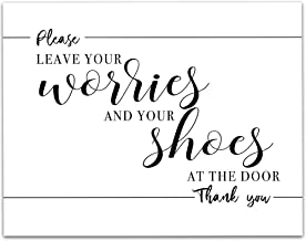 Please Leave Your Worries and Shoes at the Door - 11x14 Unframed Typography Art Print - Great Entryway/Front Door Sign Under $15