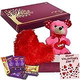 Maalpani Valentine Gift Basket | Teddy Bear | Heart Shape Cushion with Chocolate Basket Hamper - Valentine Day Gift for Girls Boys Boyfriend Girlfriend Husband Wife Love – Chocolate Hamper