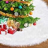 Gonna Bianca in Peluche per Albero di Natalelusso Pelliccia Sintetica Gonna per Albero, Decorazioni Natalizie Utilizzate per Coprire Il Fondo di Un Albero di Natale (Diametro: 120cm)