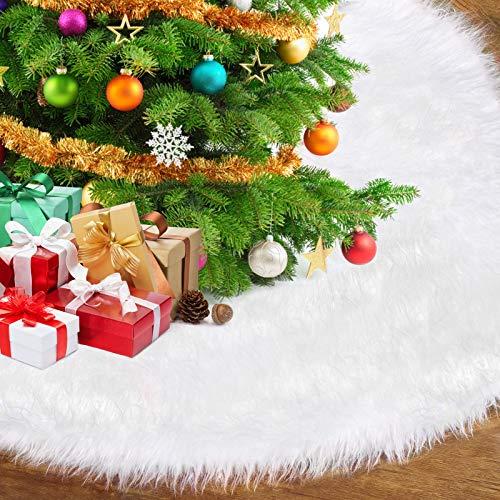 AmzKoi Weihnachtsbaumdecke,Tannenbaum Decke Weihnachtsbaum Teppich,Weihnachtsbaum Rock für Weihnachten Neujahr Party Dekoration (Weiß)