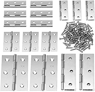 Best Boao 16 Pieces Stainless Steel Folding Butt Hinges Home Furniture Hardware Door Hinge with 96 Pieces Stainless Steel Screws (2 Inch and 3 Inch, Silver) Reviews