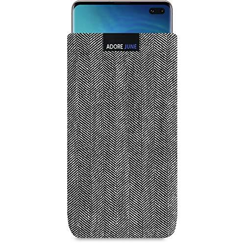 Adore June Business Tasche für Samsung Galaxy S10 Plus / S10+ Handytasche aus charakteristischem Fischgrat Stoff - Grau/Schwarz | Schutztasche Zubehör mit Bildschirm Reinigungs-Effekt | Made in Europe