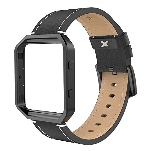 Simpeak Leather Band with Case Frame Compatible with Fitbit Blaze Smartwatch, Large Size with Frame, Genuine Leather Band Replacement for Fitbit Blaze, Black+Black Metal Frame