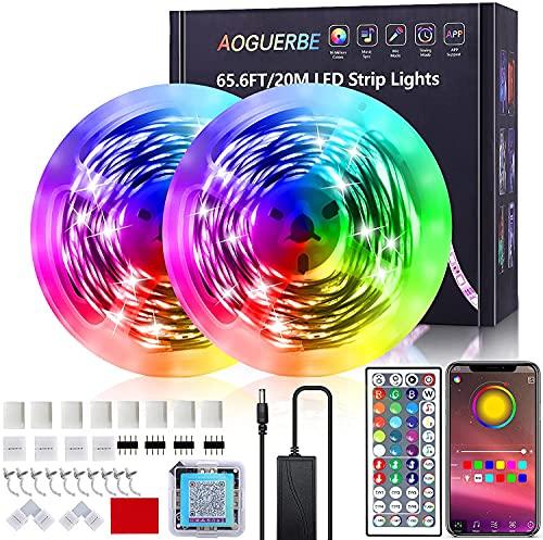 AOGUERBE Luces LED 20M, Tiras LED con Controladas por APP, IR Control Remoto, Modos de Música y Micrófono, Tira de Luz Apto para Salón Fiestas Bares Dormitorio, Luces de Colores para Habitación