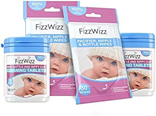 All-Natural Cleaning Tablets for Baby Bottle/Sippy Cup and Pacifier Wipes (2 Sets) by FizzWizz