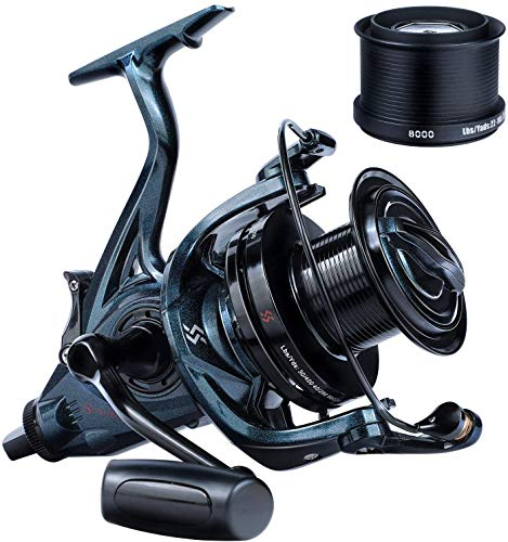 Sougayilang Carrete de pesca de carpa, ultra potente carrete de spinning suave 13+1BB cuerpo de metal 9000/10000/12000 Surf Pesca Carretes para agua salada y agua dulce 12000