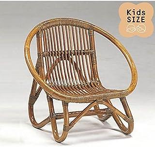 籐子供椅子 ラタンドールチェア ミニラウンドチェア アンティークブラウン色フレーム アジアンテイスト