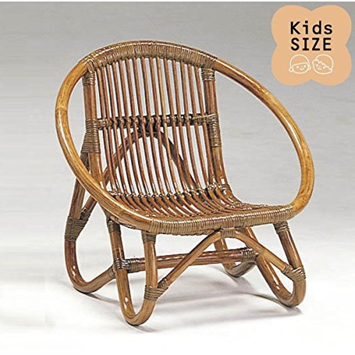 子あからさま気球籐子供椅子 ラタンドールチェア ミニラウンドチェア アンティークブラウン色フレーム アジアンテイスト