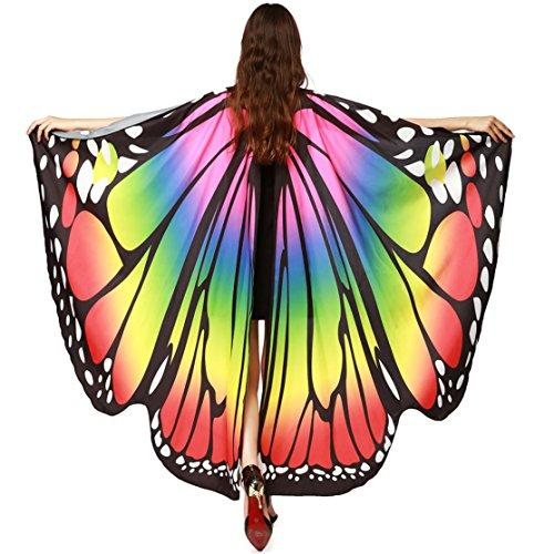 Armband Schmetterlingsflügel Schal 168 * 135CM,Loveso Dame Schmetterling Flügel Schals Fairy Göttin Karneval Damen Nympho Pixie Cosplay Weihnachten Cosplay Kostüm Zusatz (Multicolor)