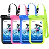 MoKo Waterproof Phone Pouch [4 Pack], Underwater Phone Case Dry Bag with Lanyard Compatible with iPhone 12 Mini/12 Pro, iPhone 11 Pro/11 Pro Max X/Xs/Xr/Xs Max,8, Samsung S21/S10/S9/S8 Plus, Note 10