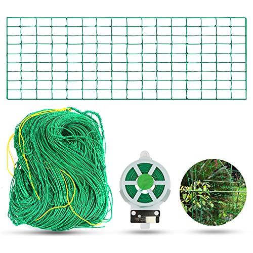 Rete da giardino verde per piante rampicanti, rete di supporto per piante rampicanti in nylon con 30 m di filo per piante per la crescita perfetta di cetrioli, pomodori e piante rampicanti (1,8 × 5 m)