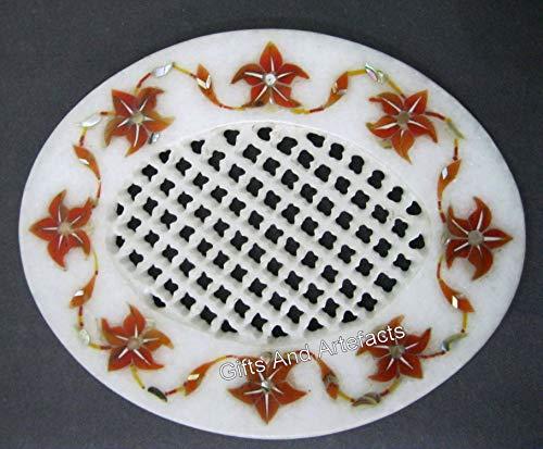Jabonera de mármol con incrustaciones de piedra cornalina de 5 x 4 pulgadas para baño