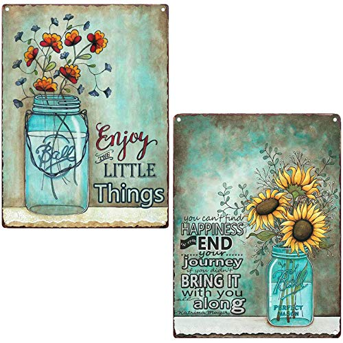 TISOSO Two Glass bottle Floral Sunflowers Poppies Metal Tin Sign Wall Art Decor for Living Room Vintage Art Coffee Bar Signs Home Decor Gifts Decoration 2pcs-8x12inch