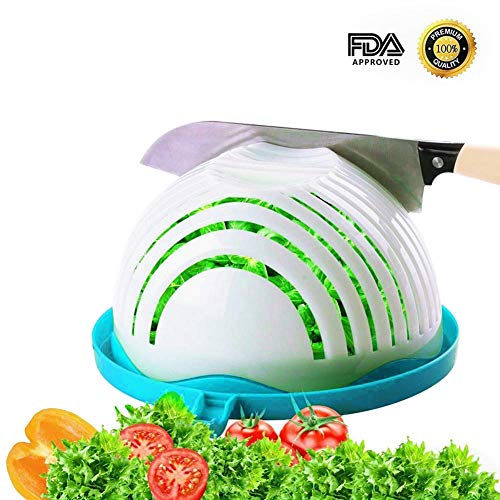 Home Holic Essoreuse à Salade,Salad Cutter Bowl,Salade Coupeur Bol,Salade de Fruit Salad Maker pour Les Légumes,Coupe-Fruits (Bleu)