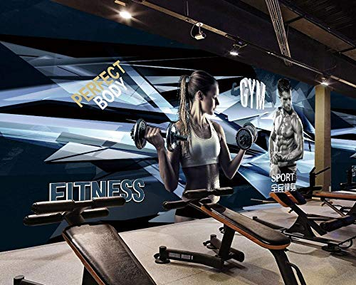 Afashiony Fototapete Sport Fitness Malerei Hintergrundwand Schöne Fitness Wandbild Muscle Man Gym Coole Wandkunst 3D Wandbild Tapete Für Wohnzimmer-300Cmx210Cm