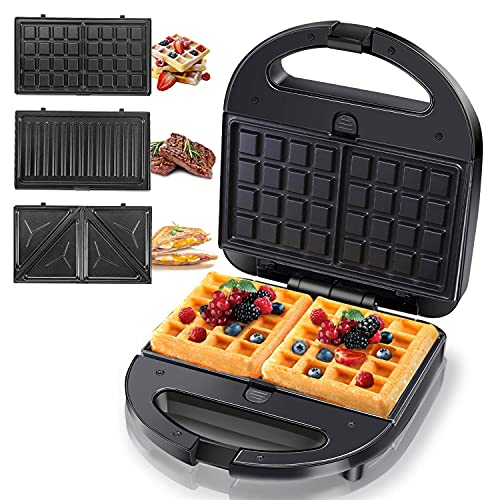 Aigostar Sandwich Maker Panini Press Grill, 3 in 1 Waffle Maker with Removable Non-stick Plates, Electric Grilled Cheese Maker, Portable Cool Touch Handle, Led Indicator Lights & Easy to Clean, 750W