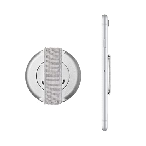 Loopgrip 360° Universal Elastic Finger Grip Phone Strap For a Safe One Hand Operation Of Your iPhone, iPad, Samsung Galaxy Silver